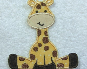 Giraffe Fabric Embroidered Iron On Applique Patch Ready to Ship