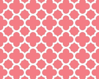 You Choose Changing Pad Cover or Crib Sheet- Ships in 3 Days- Coral Quatrefoil