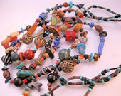Vintage Heishi Turquoise Coral Bone Pottery Bead Three Strand Necklace