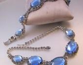 1950s Blue Cabochon Glass Necklace & Bracelet Set Rhinestones Two Tone Vintage Jewelry Jewellery