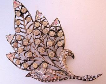 15% OFF SALE ART Deco Huge 54g Sterling Crystal Leaf Brooch Silver Jewelry Jewellery