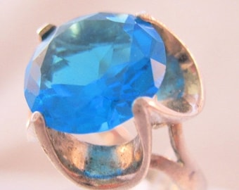 BIGGEST SALE of the Year Vintage Mexican Sterling Silver London Blue Glass Ring Large Solitaire Size 7.75 Jewelry Jewellery