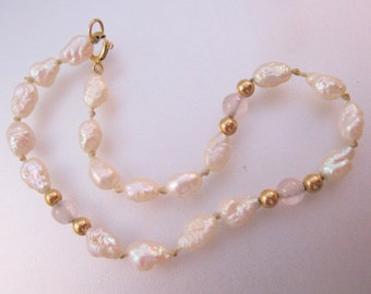 Vintage 14k Fresh Water Pearl & Rock Crystal Beaded Bracelet Fine Jewelry Jewellery