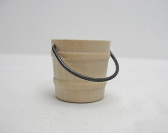 Wooden miniature bucket, small wooden bucket, dollhouse bucket