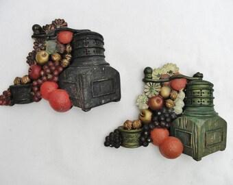 Vintage Chalkware kitchen coffee grinder plaques, chalkware vintage kitchen plaques, kitchen coffee decor
