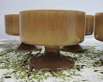 Vintage brown dessert cups set of 5, pedestal bowls, pedestal dessert cups, milk glass dessert cups, tall sherbet stackable