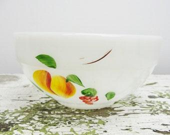 "Vintage Fire King Gay Fad Fruit pattern mini 6"" round mixing bowl"