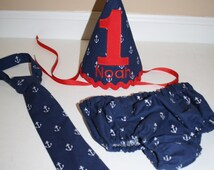 nautical boy first birthday party outfit, cake smash outfit, nautical theme, 1st birthday,  boys diaper cover, boys tie, birthday hat