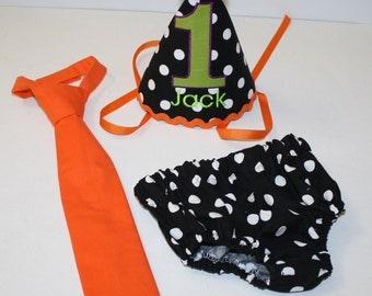 halloween birthday outfit for boys, boy first birthday party set, cake smash outfit, orange black white dot, 1st birthday,  boys diaper c