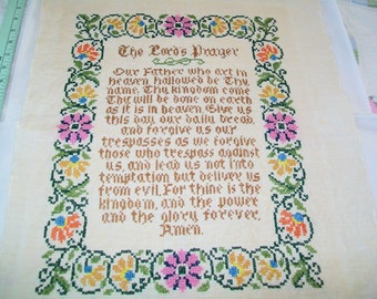 Vintage Handmade Sampler, The Lord's Prayer, 1970s, hand stitched