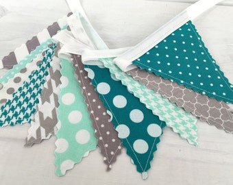 Bunting Banner Mini,Banner,Fabric Flags,Baby Nursery Decor,Birthday Decoration,Home Decor,Gray,Mint Green,Turquoise,Teal,Grey Chevron
