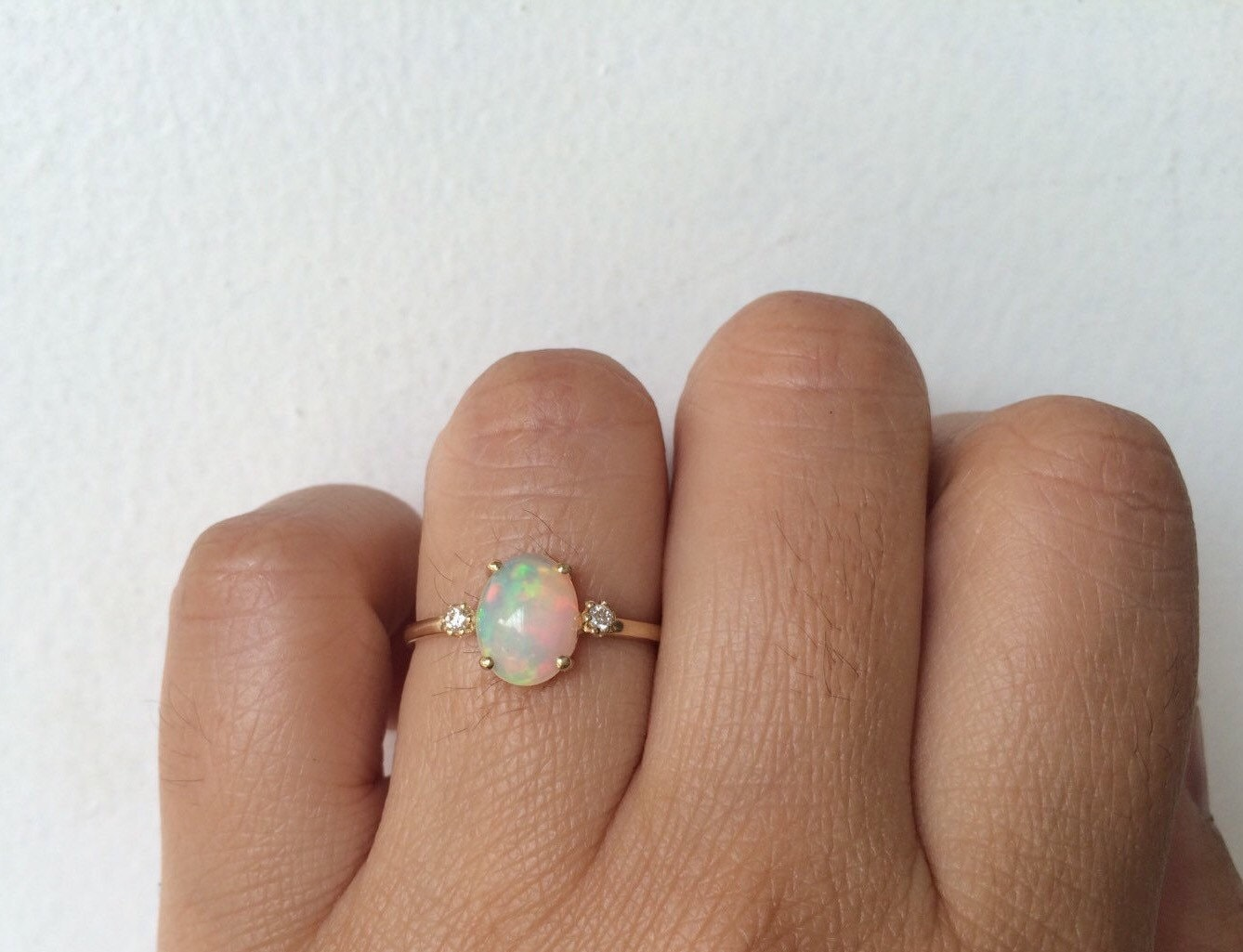 opal ring opal engagement ring 14k opal opal wedding ring sets Opal Diamond Ring Unique zoom