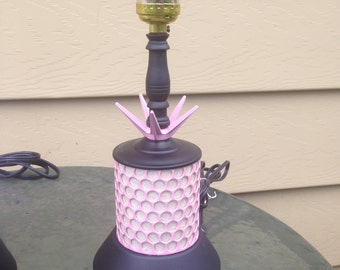 Vintage refurbished pink and black atomic lamp