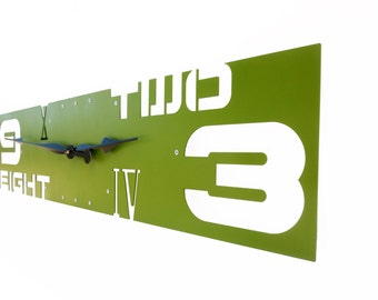 Outnumbered III, Extra Large Wall Clock, Unique Wall Clock, Modern Wall Clock, Steampunk Home Decor, Industrial Metal Art, Giant, Dark Green