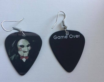 Guitar picks, Guitar pick earrings, Saw movie earrings, Saw, Earrings,