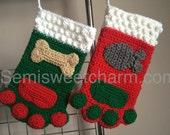 Paw Print Stocking Christmas Holiday Dog Cat Pet Photo Prop PDF Crochet Digital Download Pattern