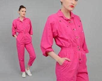 Vintage 80s Pink Cotton Jumpsuit High Waist Utilitarian Coveralls - 1980s Pant Suit - Boyfriend Romper Extra Small XS