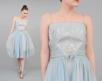 Fred Perlberg 50s Powder Blue Dress Sheer Chiffon + Lace Full Skirt 1950s Party Prom Midi Dress S M