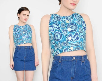 60s 70s Blue HAWAIIAN Halter 1960s Luau Party TIKI Novelty Print Boho Hippie Open Back Crop Top Small S