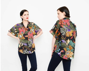 BLACK 80s Hawaiian Tropical Jungle Print Shirt 1980s Animal Print + Floral Button Up Short Sleeve Top Small Medium S M