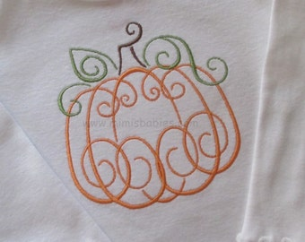 Pumpkin Swirl Stitched T Shirt  Girls Elegant Pumpkin Shirt