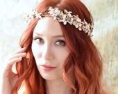 Rustic woodland bridal crown, floral circlet, fall wedding crown, vintage flower crown, autumn hair accessories