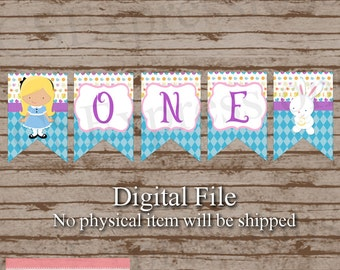Digital Little Tea Party Princess First Birthday High Chair Banner