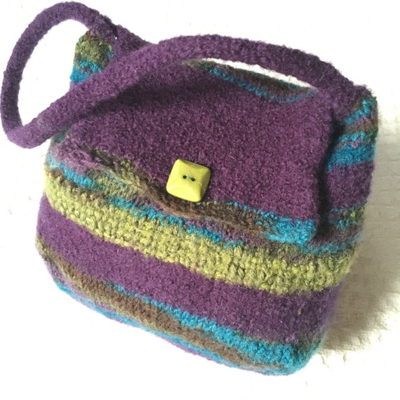 Little Girl's Dark Purple and Olive Green, blue and brown purse. Play purse for girl. Great Birthday gift for girl Made By By Lala on Etsy
