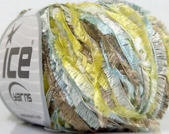 Fairy's Dawn - Sparkly Mint, Green, Grey, White Feathery Short Eyelash Yarn Ice Fringe Lurex 40327 50 gram 92 yards
