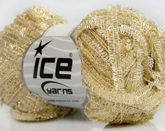 Bling on a String White with Gold Metallic Caterpillar Loop Ribbon Yarn Ice 42224 50 gram 136 yards
