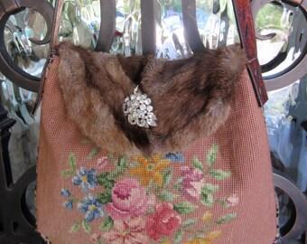 Vintage Roses Needlepoint, Velvet Chenille, Leopard Handbag
