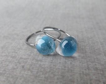 Celestial Blue Hoops, Small Blue Earrings, Lampwork Earrings Blue, Everyday Earrings, Oxidized Wire Earrings, Dark Sterling Silver Earrings