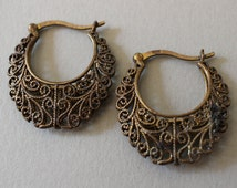 Oxidized Brass Filigree Earrings