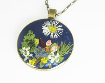 Exotic Garden,   LARGE Pressed Flower Pendant, Real Flowers, Pressed Flower Jewelry,  (1804)