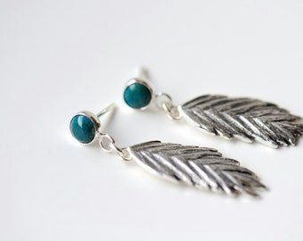 Silver feather earrings with teal gemstone, chrysocolla dangly earrings, post with dangles, grass earrings
