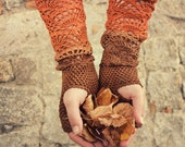 From brown to rust- ombre hand dyed crocheted open work long multicolored wrist warmers mittens fingerless gloves hippie boho
