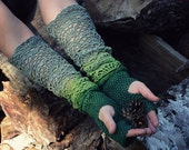 Green, Lime, Gray - ombre hand dyed crocheted open work long multicolored wrist warmers mittens fingerless gloves hippie boho