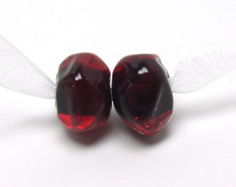 Lampwork bead pair, cherry nuggets, pomegranate lampwork, red lampwork beads, ruby lampwork beads, poppy lampwork beads