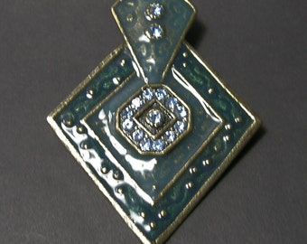 Green Enamel Pendant w/Blue Rhinestones