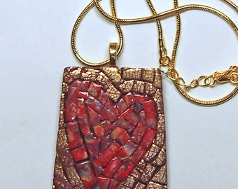 Heart Collectible. Heart Art! MOSAIC Ruby Red Heart Pendant Necklace, Polymer Clay, Polished Gold 24 inch Snake Chain