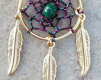 SALE SPIRIT Dreamcatcher necklace, Pink, Green and Gold Dreamcatcher necklace, smaller stone