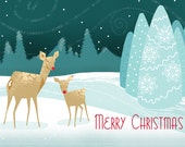"7"" x 5"" Folded Reindeer Christmas Card with Inside Greeting and Envelopes"
