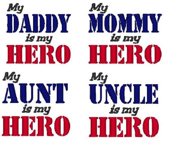 HERO Machine Embroidery Design Set of 4 4x4 5x7 Instant Download shirt bib baby shower gift military army marines navy air force patriotic