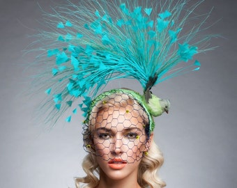 Turquoise/ Green Bird fascinator, Kentucky derby hat, Melbourne cup fascinator, Vintage fascinator, Couture headpiece