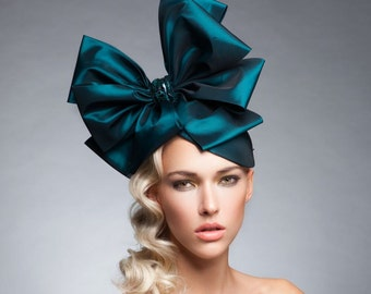 Teal Bow headpiece , couture fascinator, Fashion headpiece, Derby hat, Melbourne cup fascinator, royal ascot hat