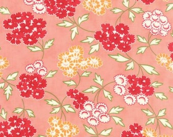 Floral Spray in Coral  by Bonnie and Camille... HELLO DARLING .. Moda fabrics.. 55113 17 Your choice half  yard or full 1 yard cut