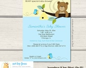 Honey Bear and Bumble Blue Heart Wings Boy Baby Shower Invitations, Printable or Printable bs-051