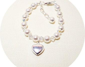 Girls Heart Bracelet, Flower Girl Bracelet, Heart Jewelry, Kids Jewelry, Silver Heart, Charm Bracelet, Toddler Bracelet, Pearl Crystal