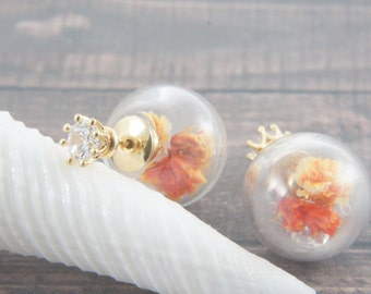 Orange flower glass ball clutch earrings, double sided earrings, peek a boo,  stud earrings, clear glass, ear jackets, front back earrings