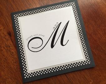 Monogram Wedding Invitation/Glamorous Wedding Invitation/Square Wedding Invitation